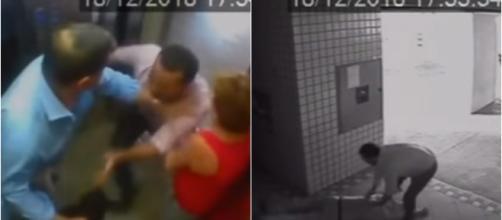 Câmeras de segurança mostraram agressão (Reprodução: câmera interna condomínio)