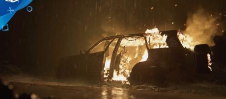 Image from 'The Last of Us Part II – Burning Car Winter Fireplace   PS4.' [Image Credit: PlayStation / YouTube Screenshot]