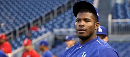 Yasiel Puig is one of seven players that was involved in the Dodgers/Reds blockbuster. [image source: Arturo Pardavilla III- Wikimedia Commons]