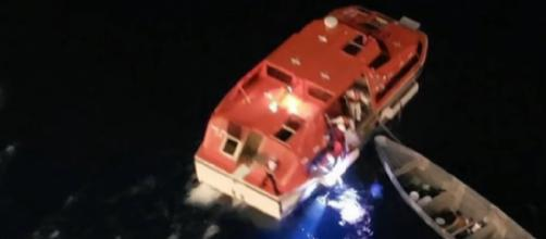 Cruise ship rescues fishermen stranded at sea for 20 days. [Image source/CBS News YouTube video]