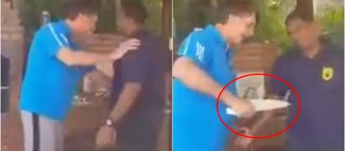 Presidente brinca com churrasqueiro em base naval (Reprodução YouTube)