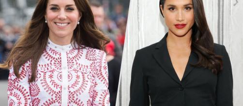 A destra Kate Middleton, mentre a sinistra Meghan Markle