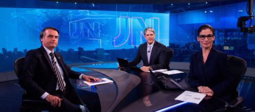 Bolsonaro durante JN, em setembro (Reprodução TV Globo)