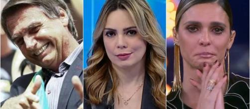 Sheherazade e Fernanda Lima são algumas das famosas que não gostam de Bolsonaro. (reprodução: Site oficial PSL / SBT / Globo)