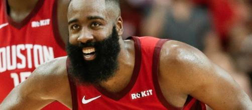 James Harden scored 41 points for the Rockets in a Christmas Day win over OKC. [Image via ESPN/YouTube screencap]