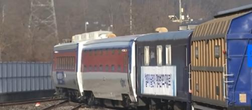 South Korean train ventures into North Korea for the first time in more than a decade. [Image source/euronews (in English) YouTube video]