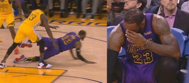 LeBron James suffered an injury in the third quarter of the Laker's game on Dec. 25. [Image via ESPN/YouTube screencap]