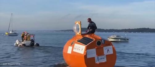 A 71-year-old Frenchman is planning to travel across the Atlantic to the Caribbean in a barrel. [Image TIME/YouTube]