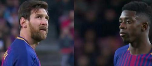 Messi e Dembélé (Imagem via Youtube)