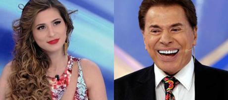 Lívia Andrade e o apresentador Silvio Santos (Reprodução/SBT)