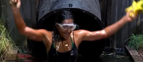 Sair leaves the Sickening Sewer with a smile on her face (Image credit: I'm A Celebrity...Get Me Out Of Here!/ YouTube.com)