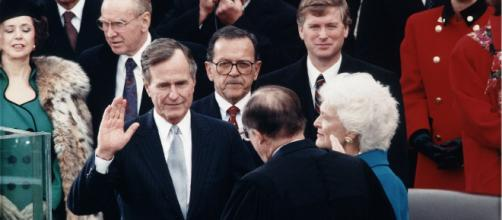 George H. W. Bush during Inaugural ceremonies at the United States Capitol – Image credit – Library of Congress | Wikimedia Commons.