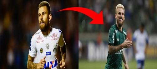 Lucas Lima atuando pelo Santos e Palmeiras.