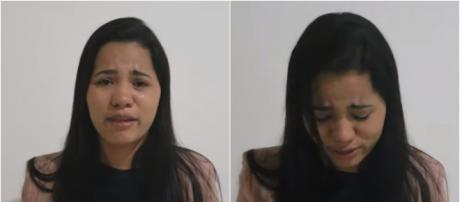 Stefhany chorando em vídeo (Reprodução Canal YouTube Stefhany Cardoso)