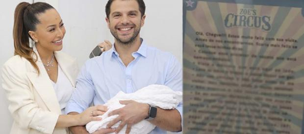 Os felizes pais de Zoe fizeram o tema 'Circus' para a chegada do bebê. (reprodução/Internet)