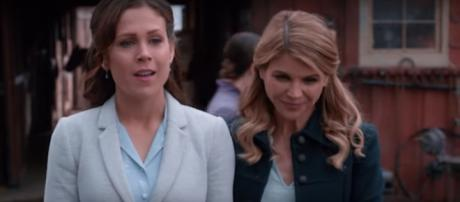 Erin Krakow and Lori Loughlin of When Calls the Heart leave the corsets and go casual for fun. [Image source: Shout Factory-YouTube]