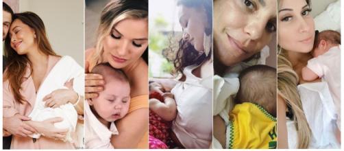 Sabrina Sato, Andressa Suita, Débora Nascimento, Ivete Sangalo e Mayra Cardi foram mães em 2018 (Foto: Reprodução da Internet)