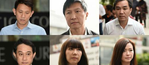 En sentido horario desde arriba a la izquierda): Tan Ye Peng, Kong Hee, John Lam, Chew Eng Han, Sharon Tan y Serina Wee. (Foto: Ngau Kai Yan).
