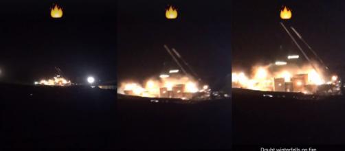 Vídeo mostra explosão em suposto set de ''Game of Thrones'' (Captura de vídeo)