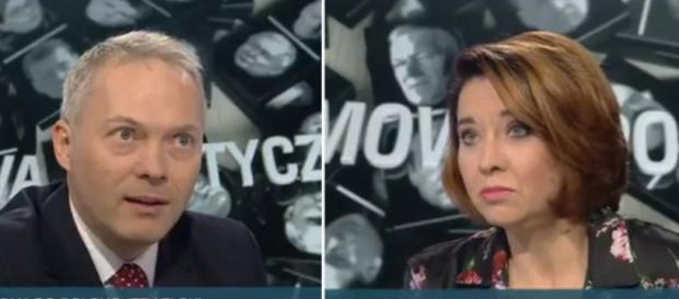 Poseł PiS Jacek Żalek kontra Dominika Długosz (screen Twitter).