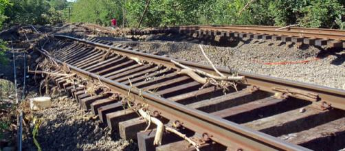 Railway tracks damaged in New York from flooding due to Hurricane Irene. - [Image credit – Daniel Case, Wikimedia Commons]