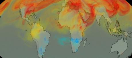 """NASA revela el """"Mapa"""" del CO2 visto desde el espacio."""