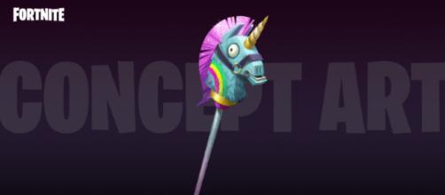 An upcoming Llama Unicorn Pickaxe in 'Fortnite' - (Image Credit: YouTube/Ali-A screencap)