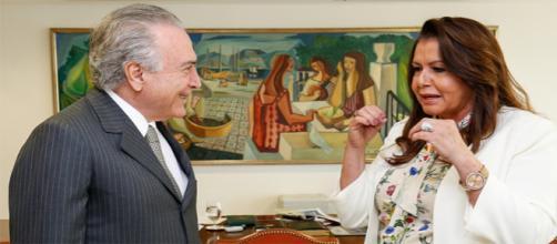 O presidente Michel Temer e a governadora de Roraima, Suely Campos, durante encontro em 2017.