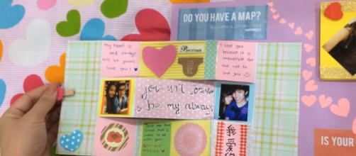 Think of making a scrapbook for your loved one. [image source: Miss chiku/YouTube screenshot]