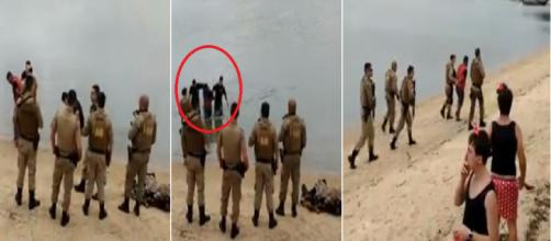 Vídeo mostra policiais entrando na água para prender bandido