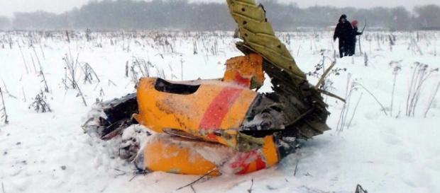 Imagem do avião russo após sua queda. (Foto Reprodução).