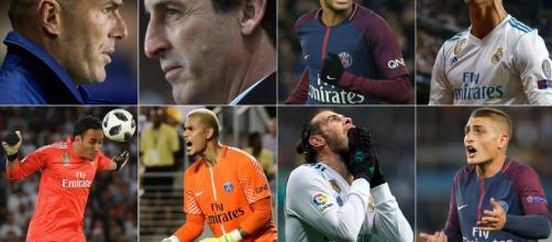 Zinedine Zidane, Unai Emery, Neymar, Cristiano Ronaldo, Keylor Navas, Alphonse Areola, Gareth Bale y Marco Verratti.