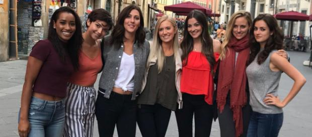 Seven girls enter. Four survive. Who makes the cut in Tuscany? Image via @BachelorABC Twitter