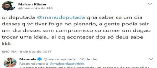 Candidata pelo PSOL respondeu seguidor (foto / print)