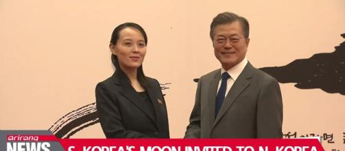 Kim has invited Moon. Photo of his sister with Moon. Photo-Image credit Ariana news-Youtube.com