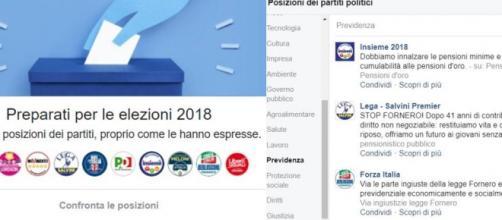 Riforma pensioni, confronta le posizioni dei partiti su Facebook