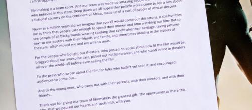 el escritor / director Ryan Coogler ha ofrecido sus pensamientos sobre el asunto a su audiencia
