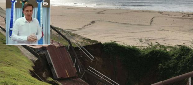 Parte da ciclovia, Tim Maia, desabou devido a forte temporal no Rio de Janeiro