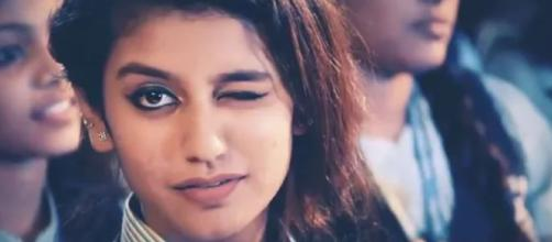 Priya Prakash Varrier the new heart throb from the South. Photo-image credit still from Oru Adar love- Youtube.com