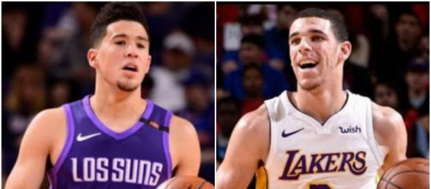 Jason McIntyre proposes a Lonzo Ball for Devin Booker swap to solve the Lakers' woes. – [image: Ximo Pierto / YouTube screencap]