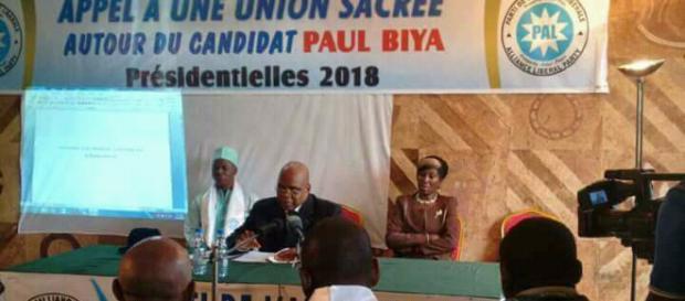 Le président du PAL lors de sa conférence de presse du 22 février 2018 à Yaoundé (c) Odile Pahai