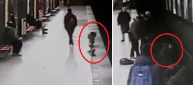Vídeo mostra jovem salvando criança que iria morrer na linha do trem; confira