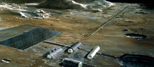 Lunar rail gun [image courtesy NASA wikimedia commons]