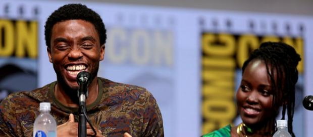 Chadwick Boseman, Lupita Nyong at the San Diego Comic Con International, for 'Black Panther.' - [Image credit: Gage Skidmore, Wikimedia Commons]