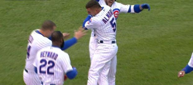 Cubs walk off on Phillies' 13th-inning error   [Image via MLB.com/YouTube]
