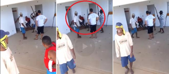 Vídeo mostra bandido sendo brutalmente agredido a pauladas após roubo