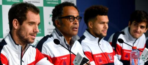 Gasquet en première ligne avec son capitaine Yannick Noah; Tsonga demeure le grand absent de cette rencontre (via rtl.fr)
