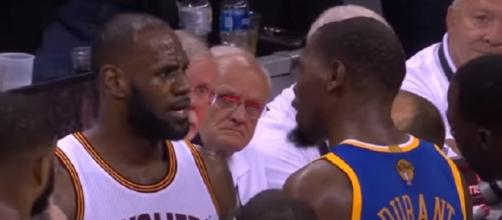 LeBron James and Kevin Durant exchange words in the NBA Finals. - [Image Credit: Sports Countdown / YouTube screencap]