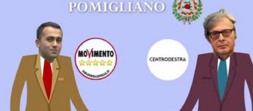 Sgarbi si scontra con Di Maio a Pomigliano. Foto Corriere.it