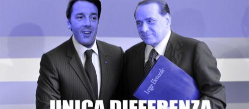 Una rappresentazione ironica di Renzi e Berlusconi data dai comunisti di Rifondazione